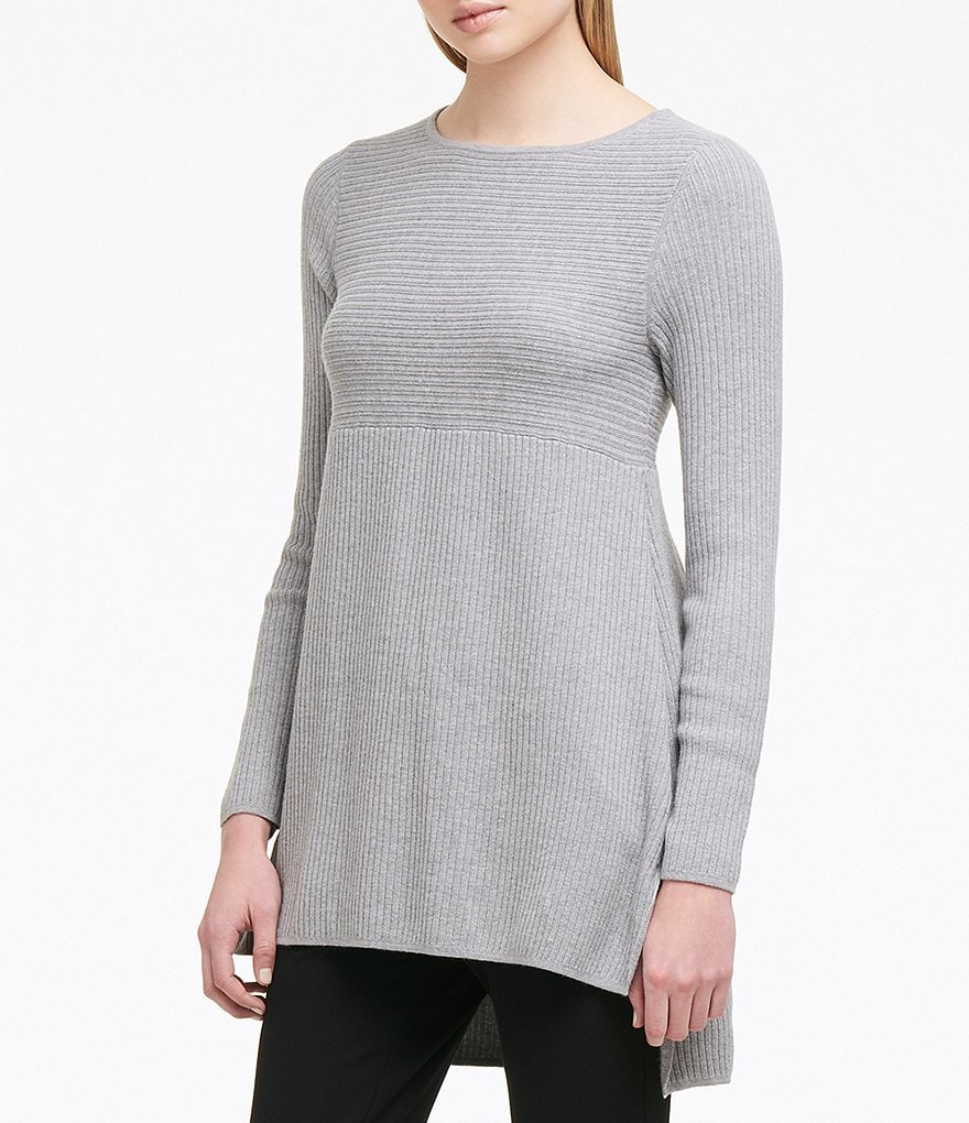 Donna Karan New York Mixed Rib Hi-Low Step Hem Sweater