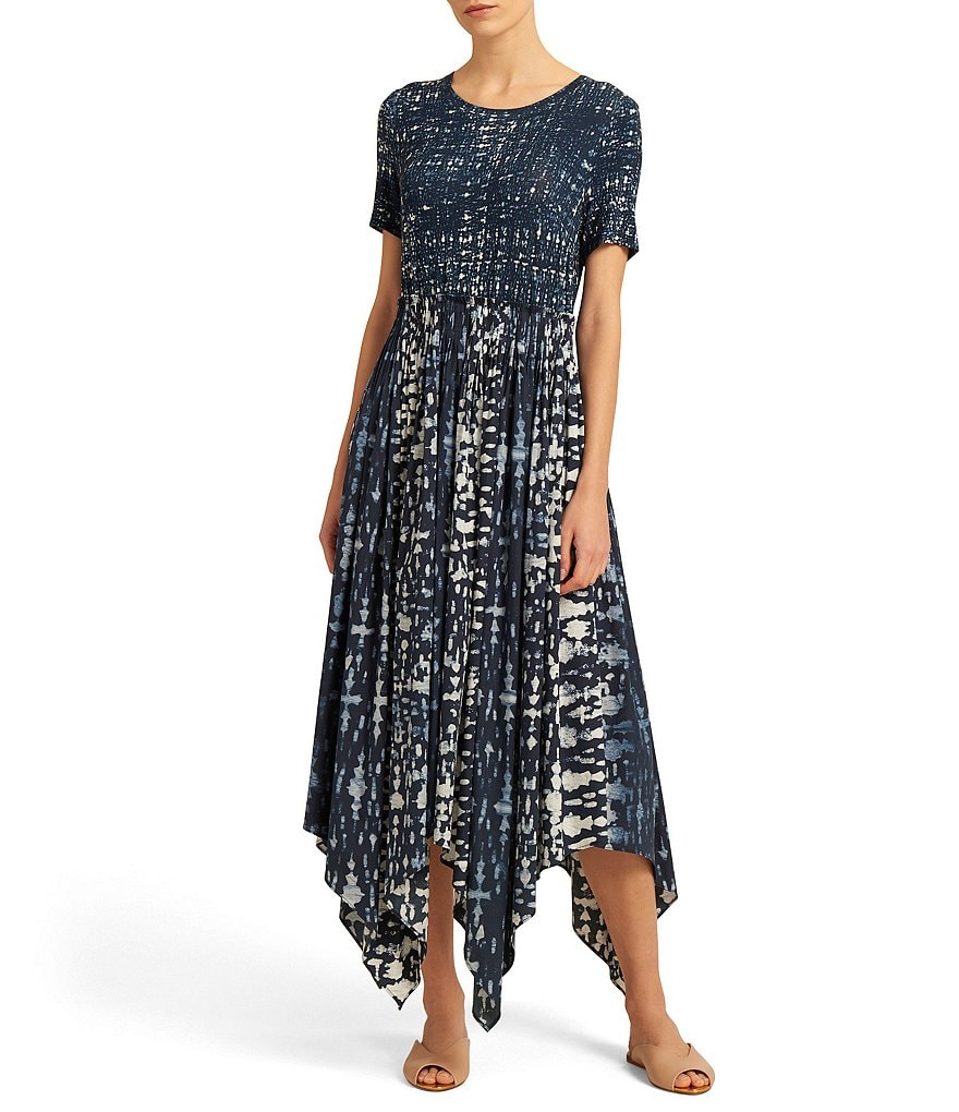 Donna Karan New York Batik Print Mixed Media Handkerchief Hem Midi Dress