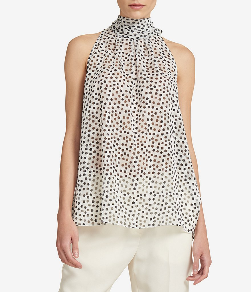 Donna Karan New York Burnout Polka Dot Halter Tie-Back Top