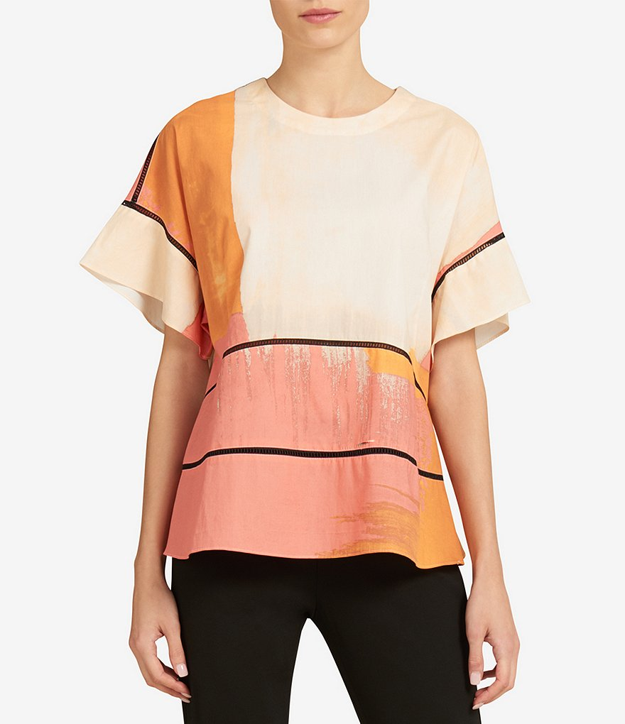 Donna Karan New York Paintbrush Abstract Print Boxy Top