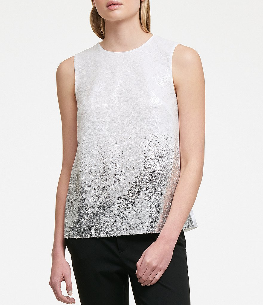 Donna Karan New York Ombre Sequin Front Cut-Out Back Top