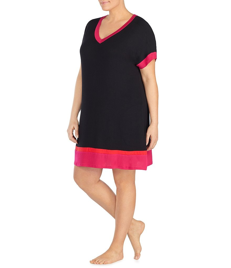 Donna Karan Plus Colorblock Jersey Knit Sleepshirt