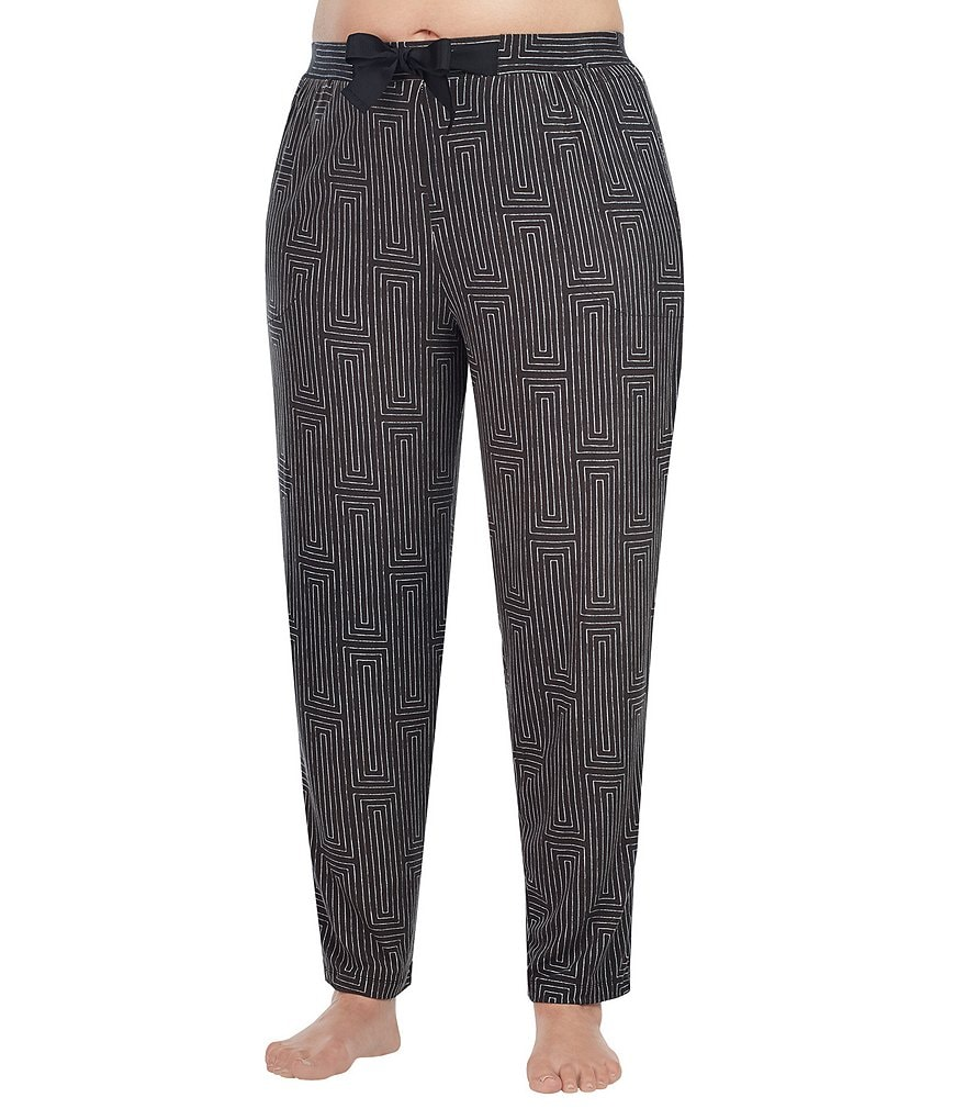 Donna Karan Plus Geometric Jersey Cropped Sleep Pants
