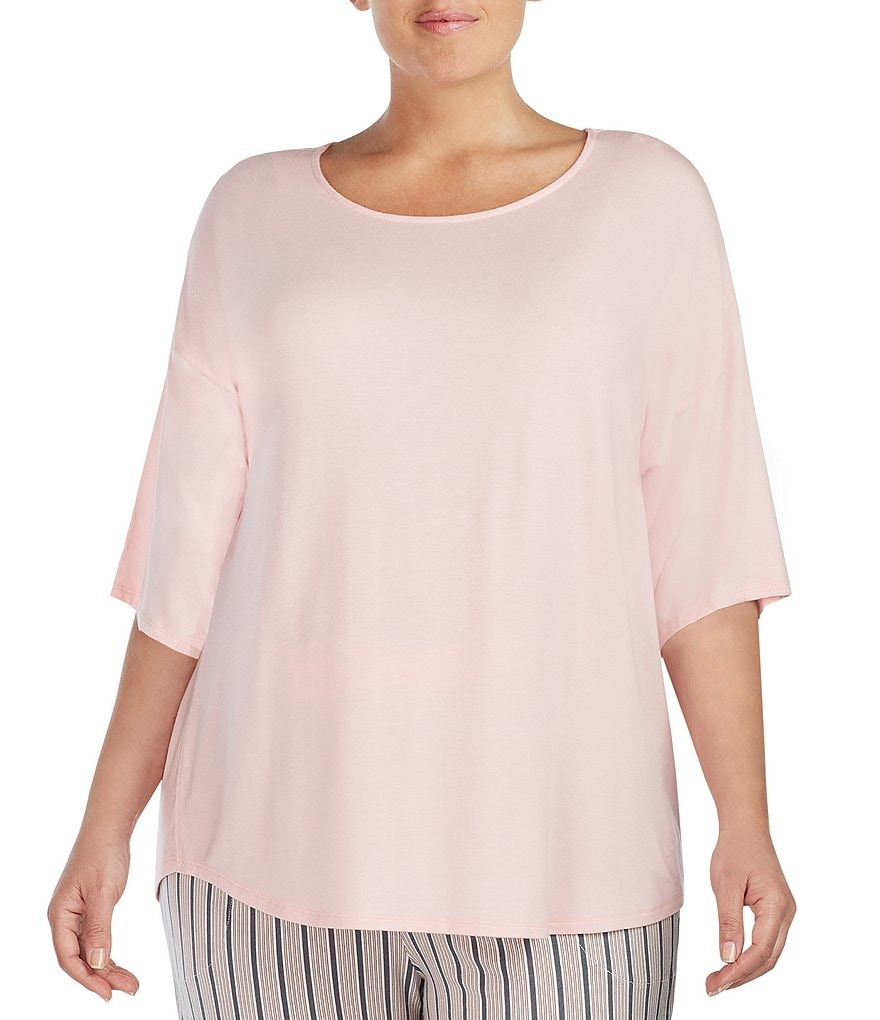 Donna Karan Plus Jersey Split-Back Sleep Top
