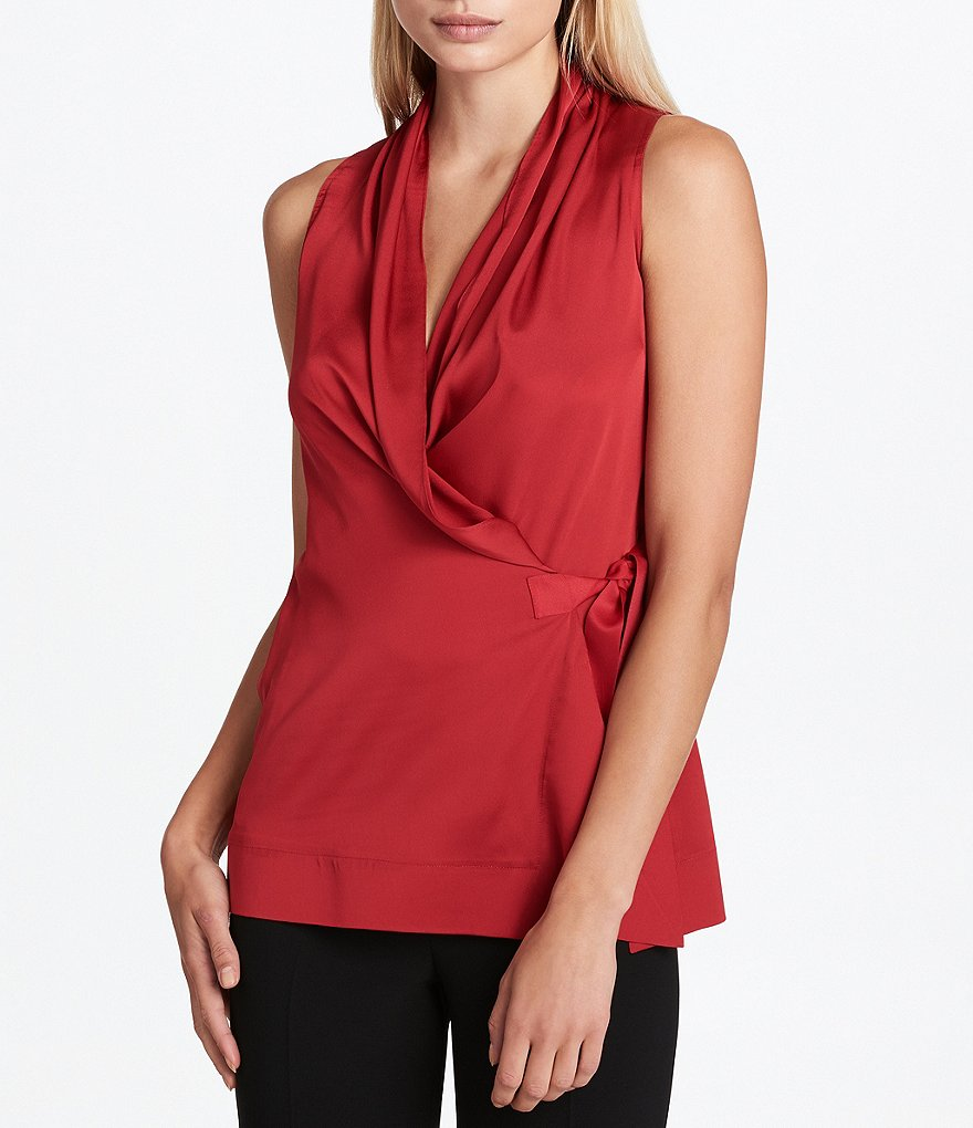 Donna Karan New York Satin Drape V-Neck Side-Tie WrapTop