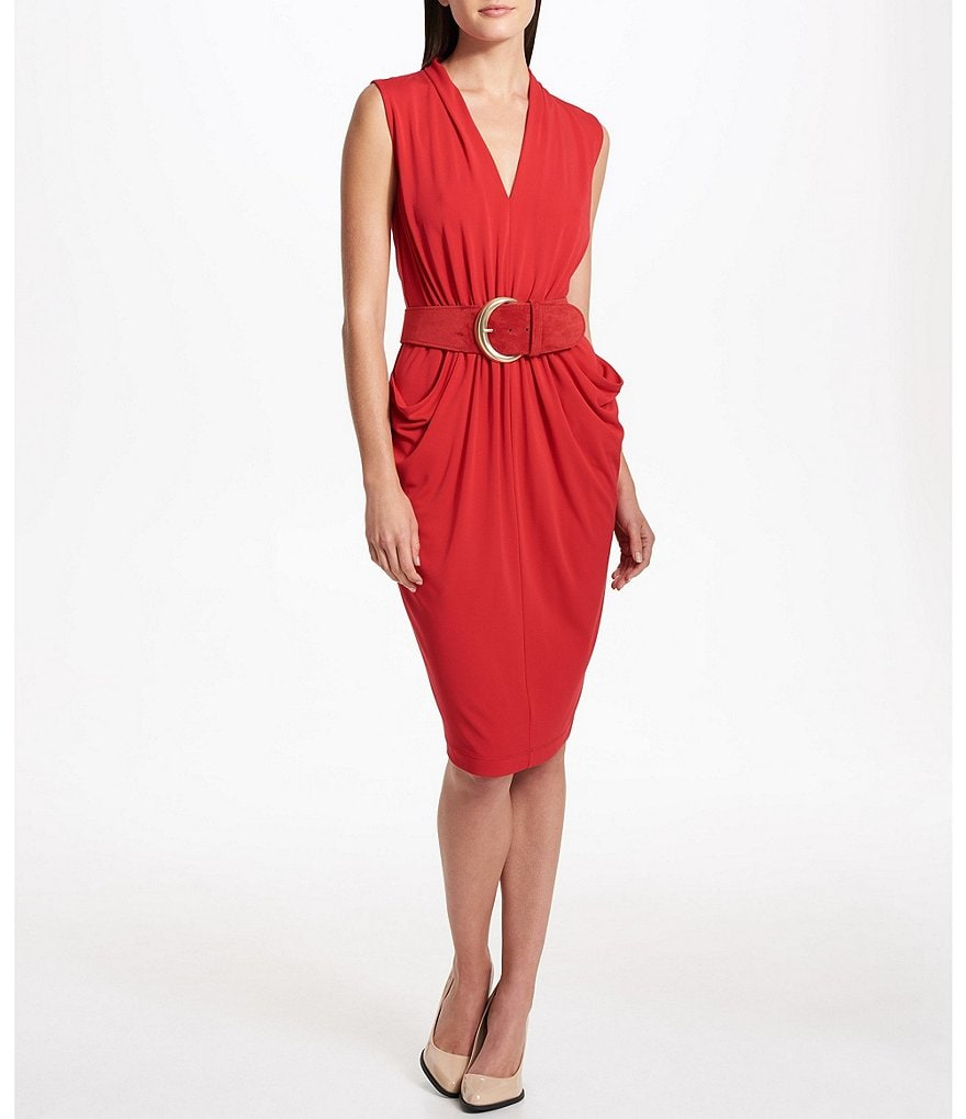 Donna Karan New York Sleeveless V-Neck Drape Front Belted Dress