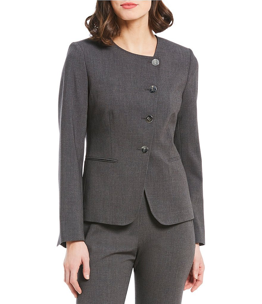 Donna Karan New York Soft Stretch Suiting Asymmetric Button-Front Jacket