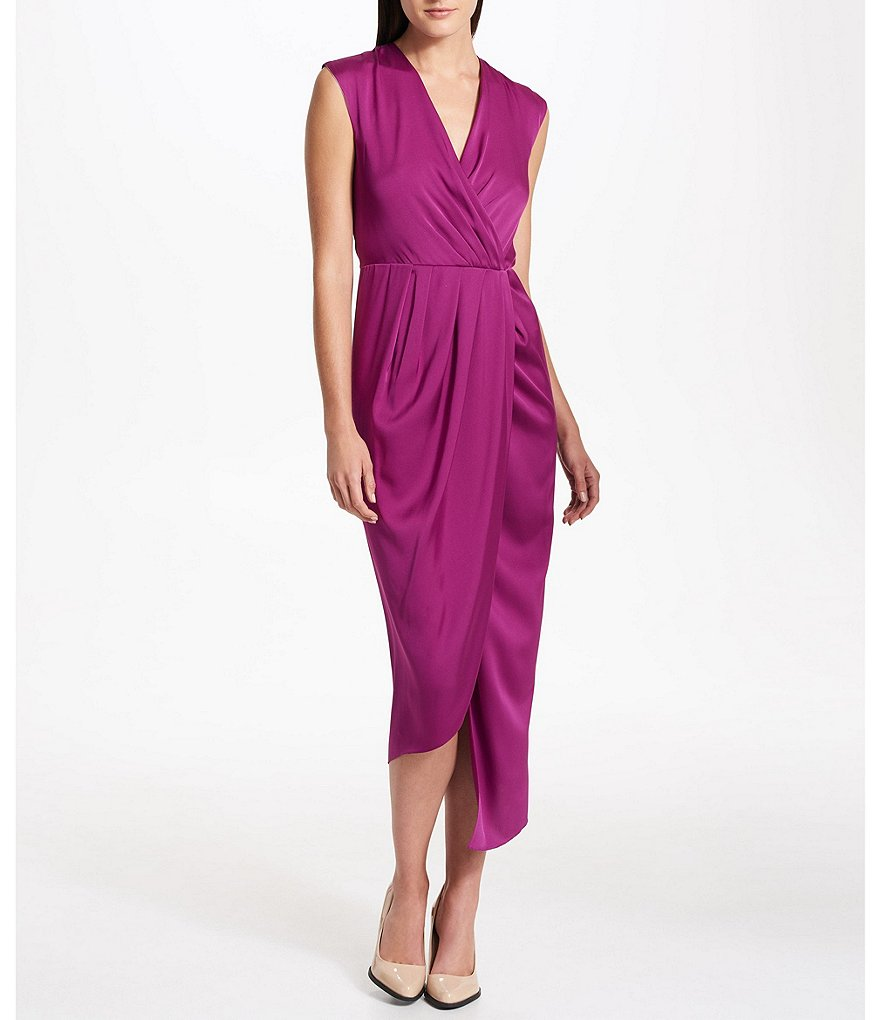 Donna Karan New York Stretch Silk Cut-Out Back Faux-Wrap Dress