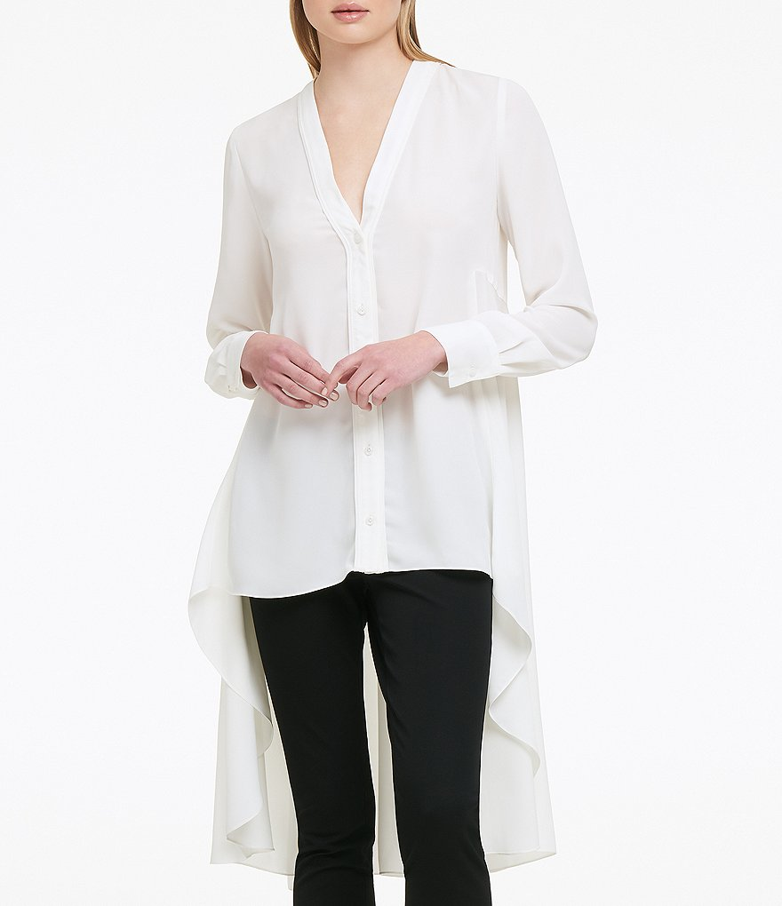 Donna Karan New York Stretch Silk V-Neck Hi-Low Hem Novelty Shirting Tunic