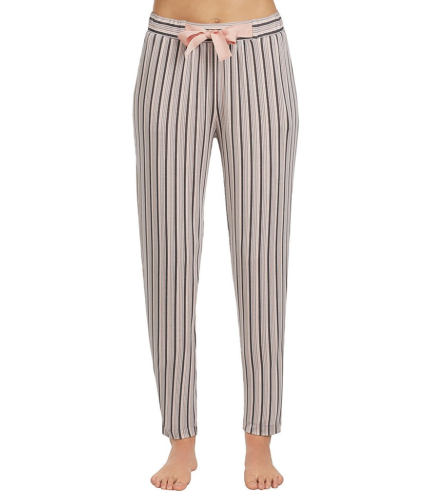 Donna Karan Striped Jersey Cropped Sleep Pants