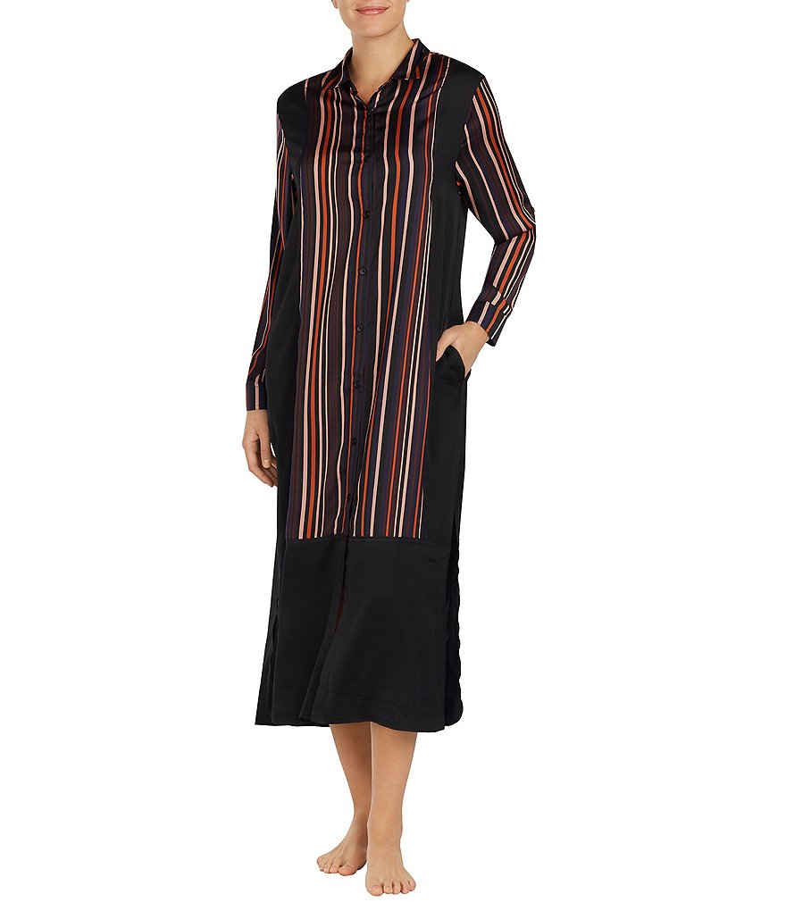 Donna Karan Striped Satin Maxi Sleepshirt