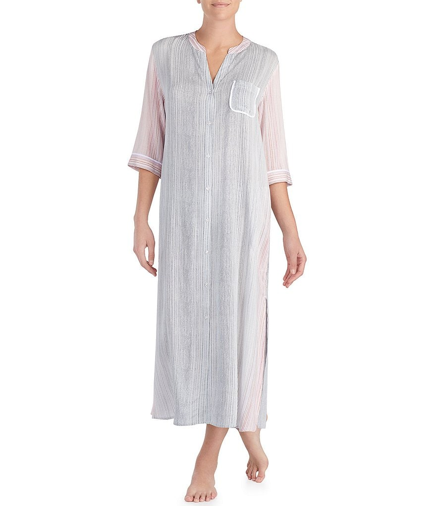 Donna Karan Striped Woven Maxi Sleep Shirt