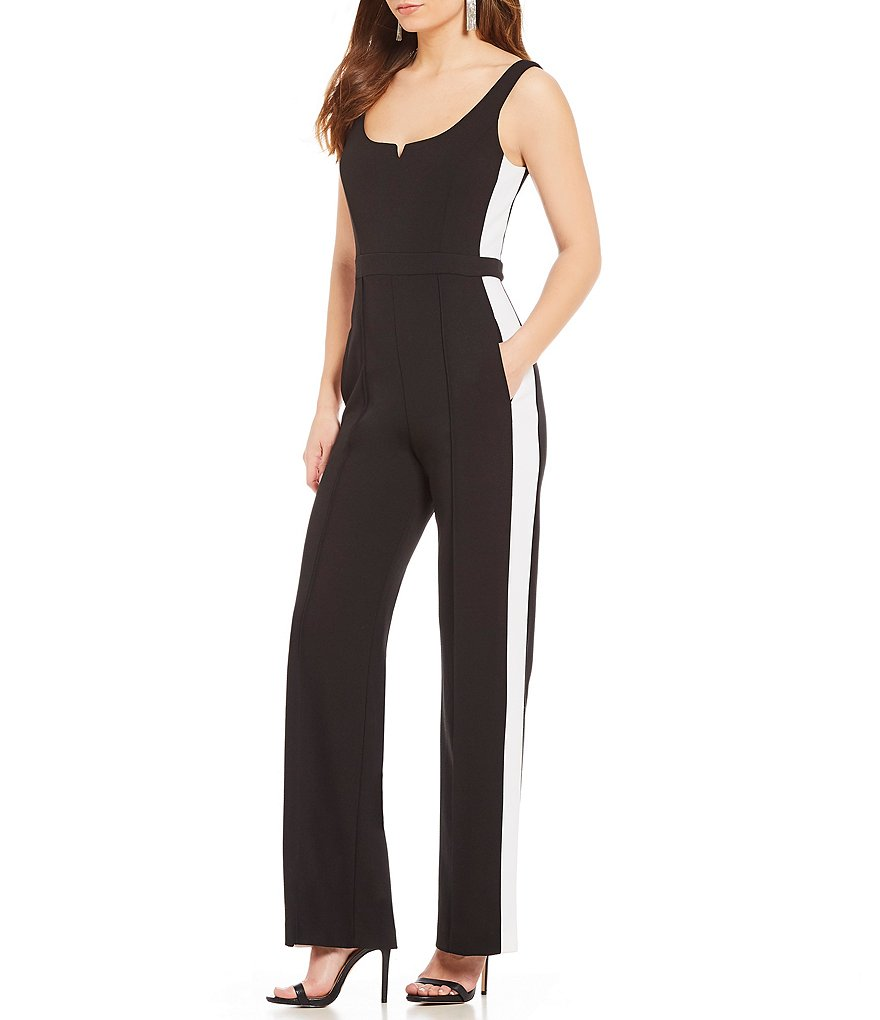 Donna Morgan Athletic Stripe Jumpsuit