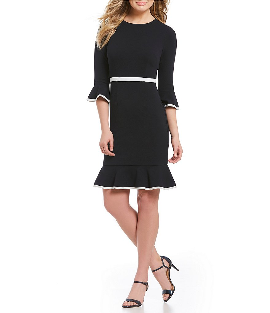 Donna Morgan Bell Sleeve Contrast Piping Ruffle Hem Dress