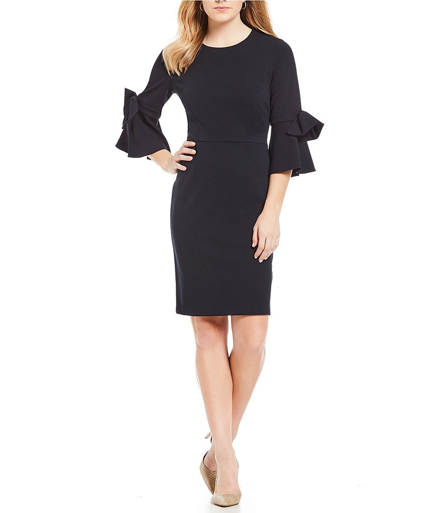 Donna Morgan Bow Sleeve Sheath Dress