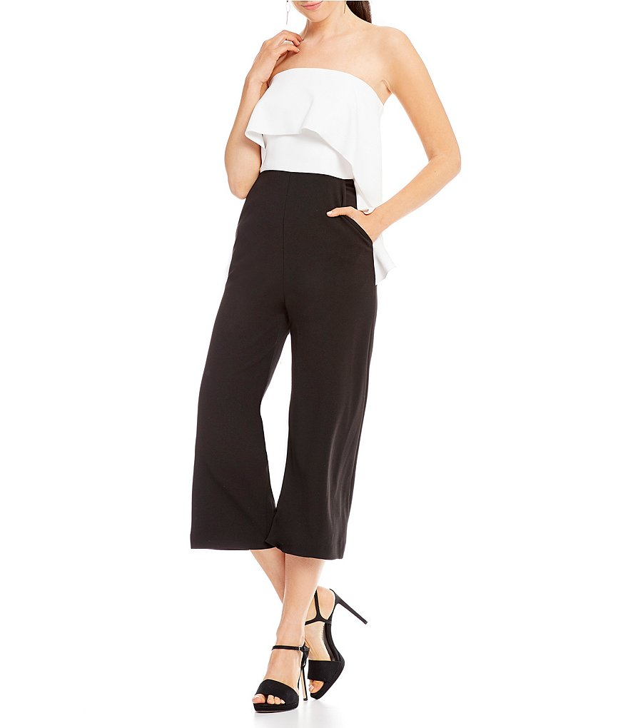 Donna Morgan Ruffle Strapless Culotte Jumpsuit