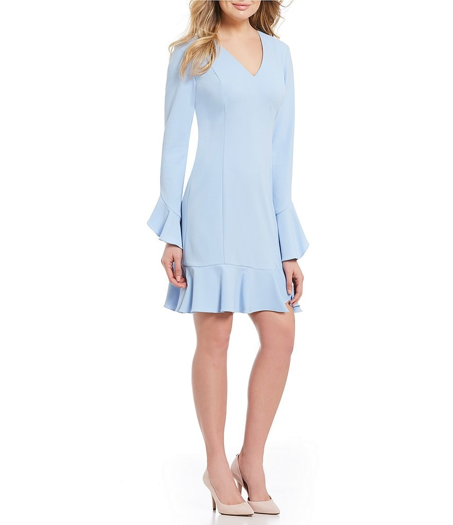 Donna Morgan V-Neck Bell-Sleeve Ruffle Hem Dress