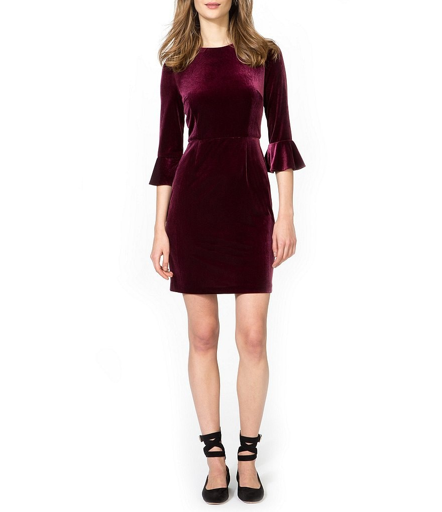 Donna Morgan Velvet Bell Sleeve Sheath Dress