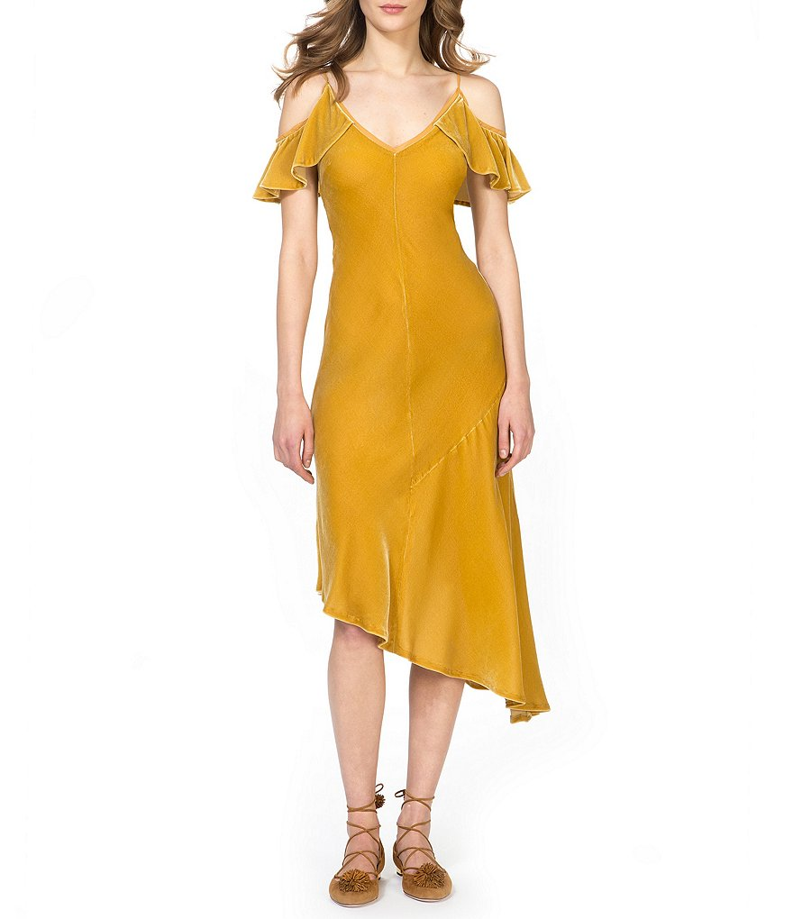 Donna Morgan Velvet Cold Shoulder Dress