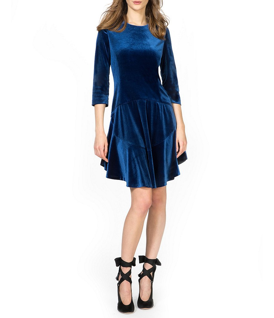 Donna Morgan Velvet Drop Waist Dress