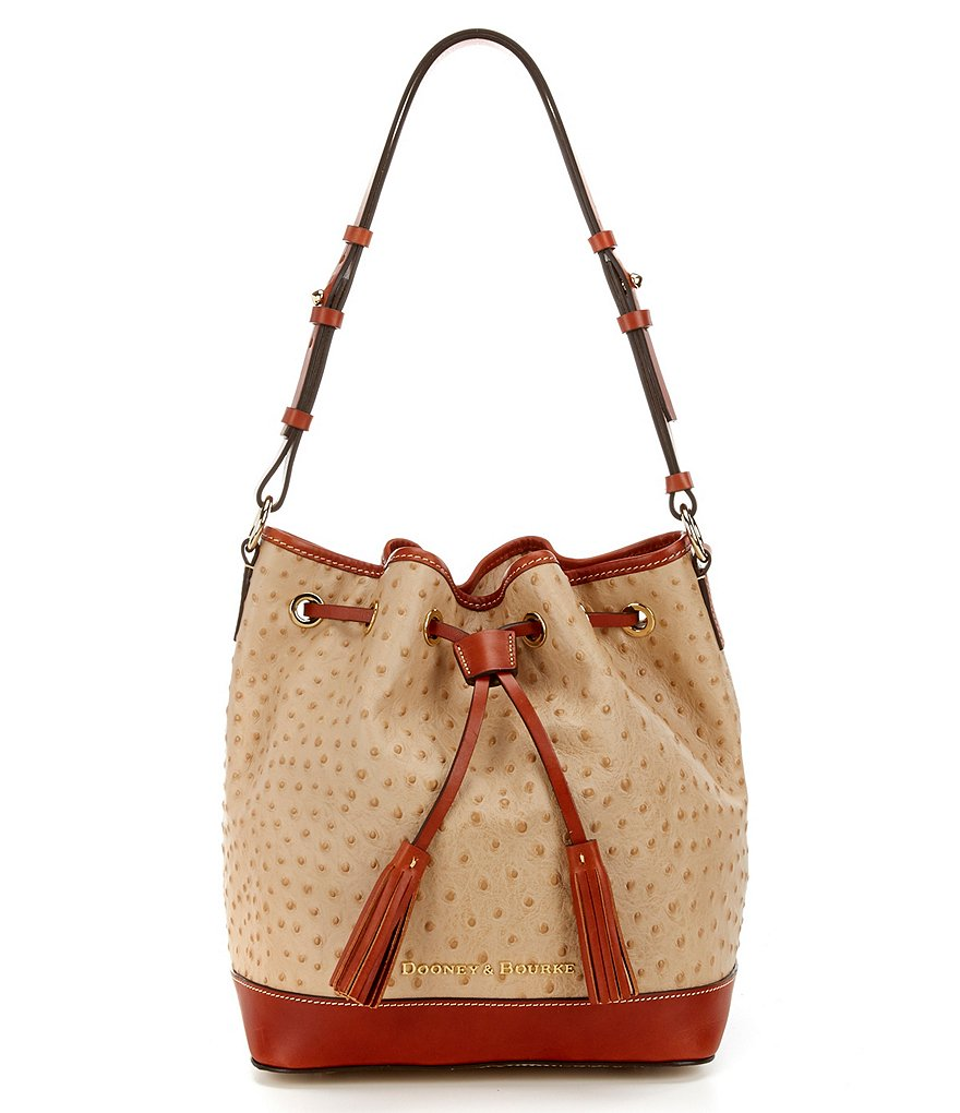 Dooney & Bourke Ostrich Collection Tasseled Drawstring Bag