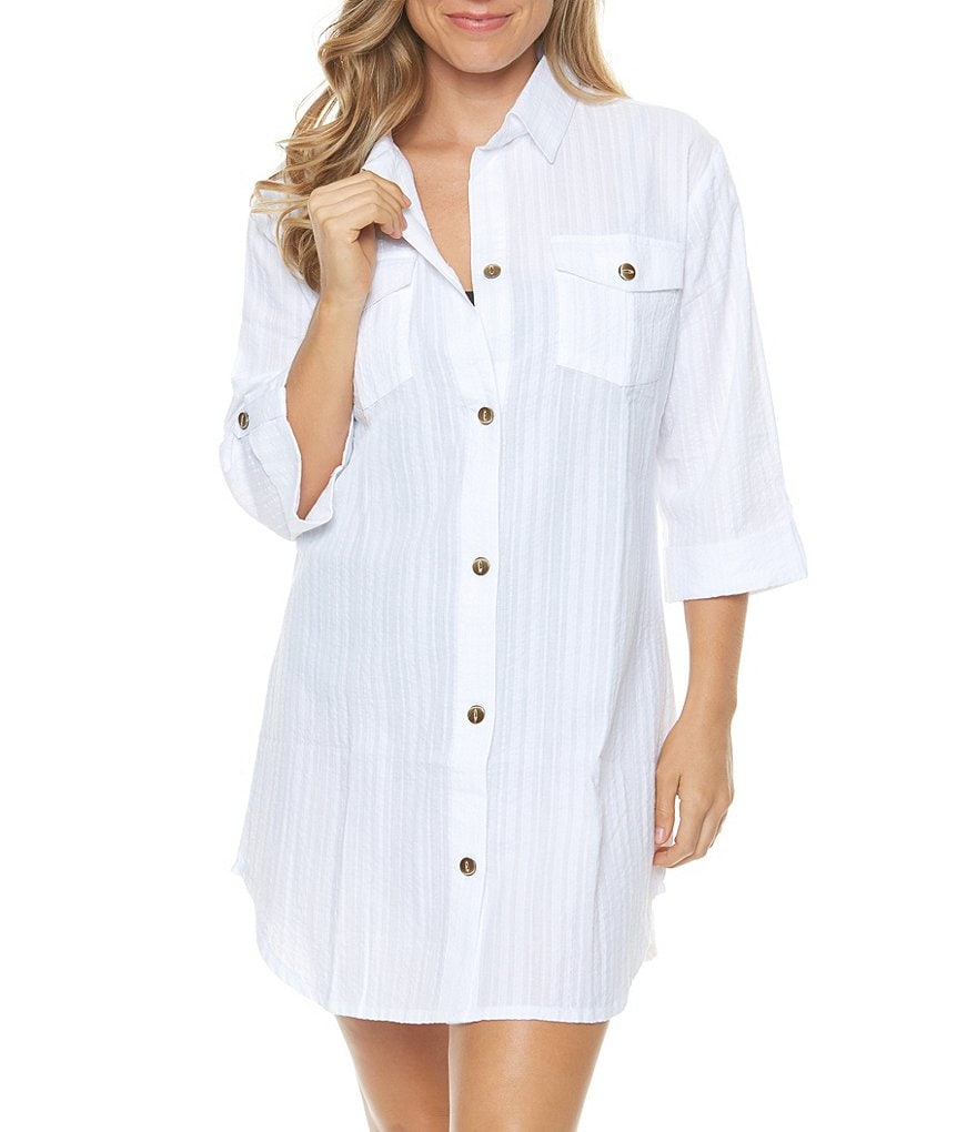 Dotti Cabana Life Shirt Dress Swimsuit Cover-up