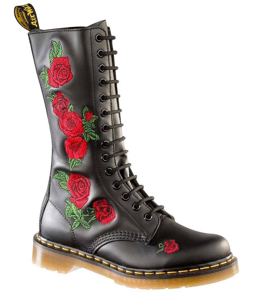 dr martens vonda rose embroidered combat block heel boots. Black Bedroom Furniture Sets. Home Design Ideas