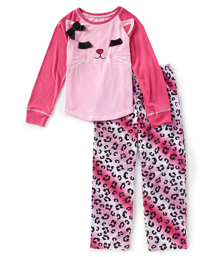 Dream Life by Us Angels Big Girls 7-14 Kitty Two-Piece Pajama Set
