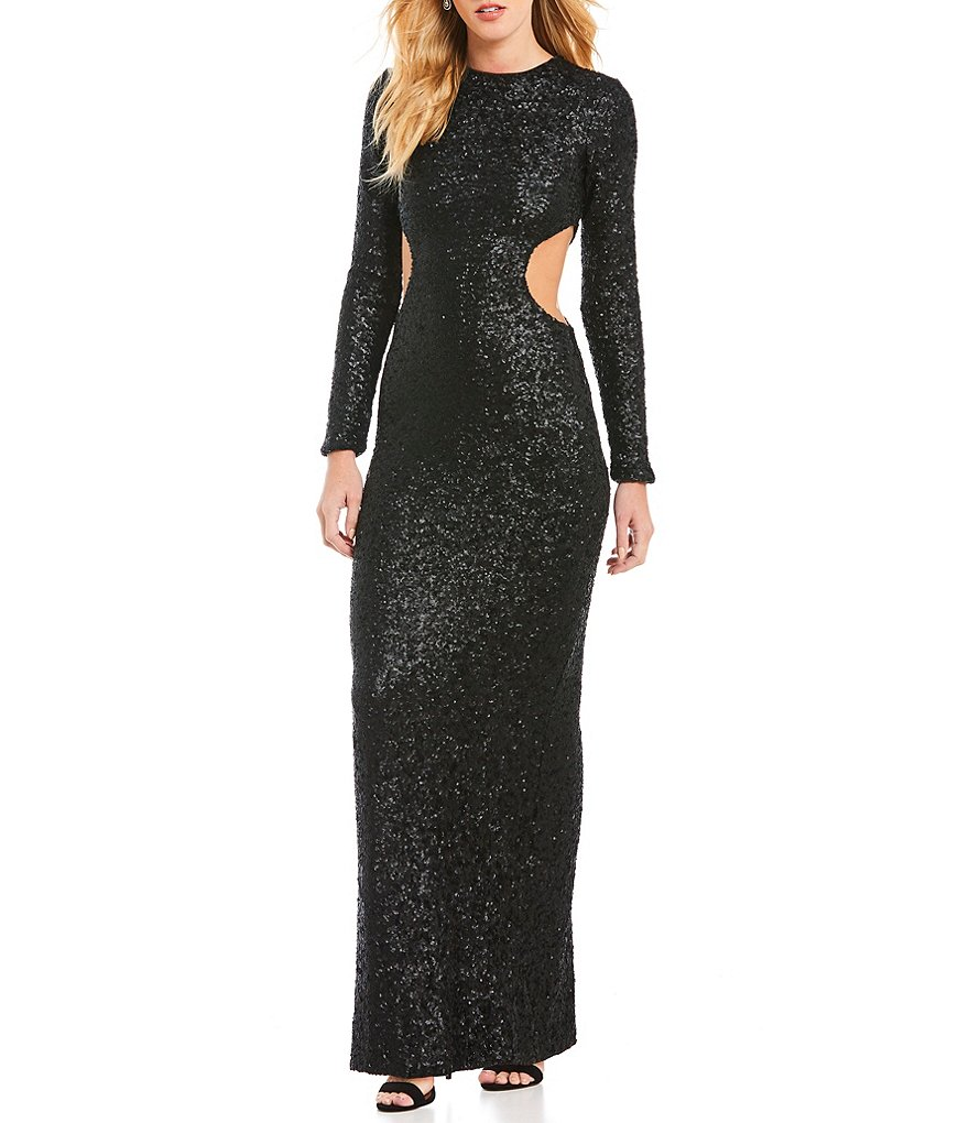 Dress the Population Lara Sequin Cut-Out Gown