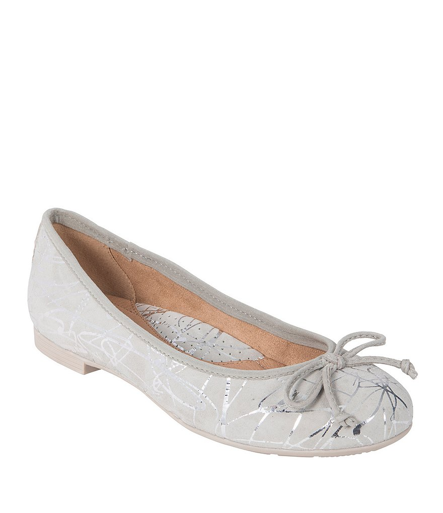 Earth Allegro Metallic Printed Suede Flats