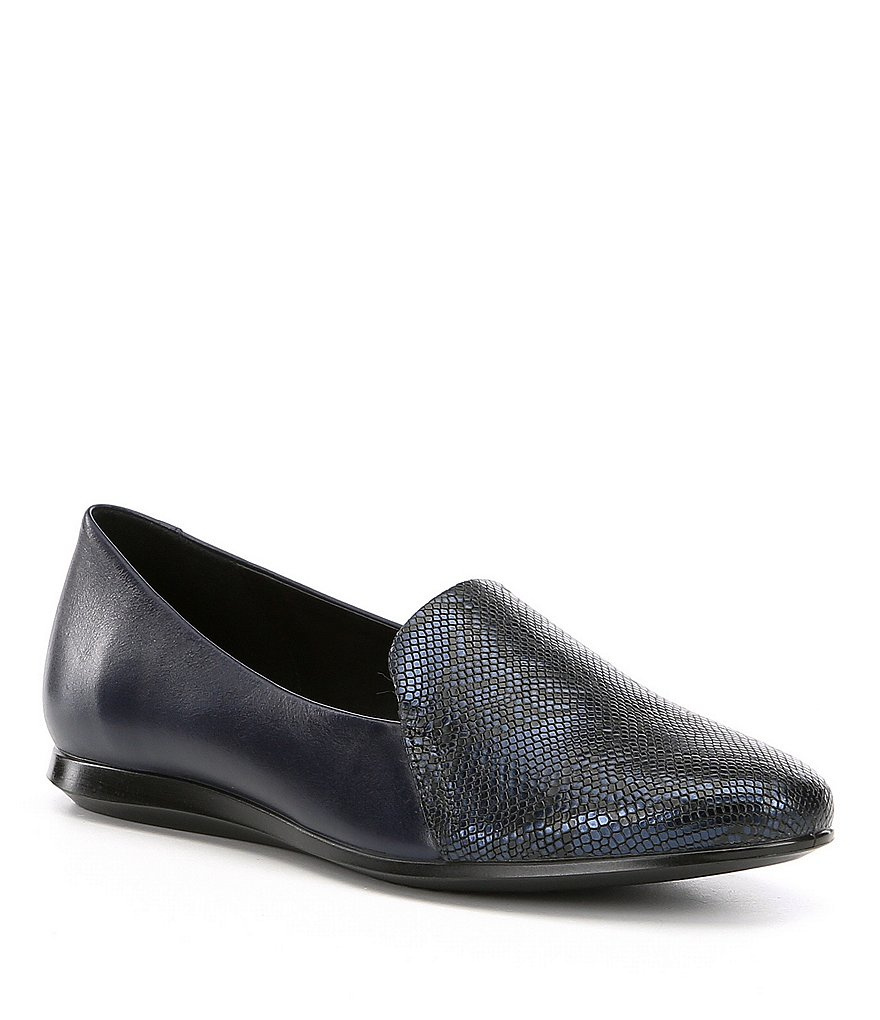 ECCO Touch Ballerina 2.0 Leather & Scale-Embossed Slip-On Flats
