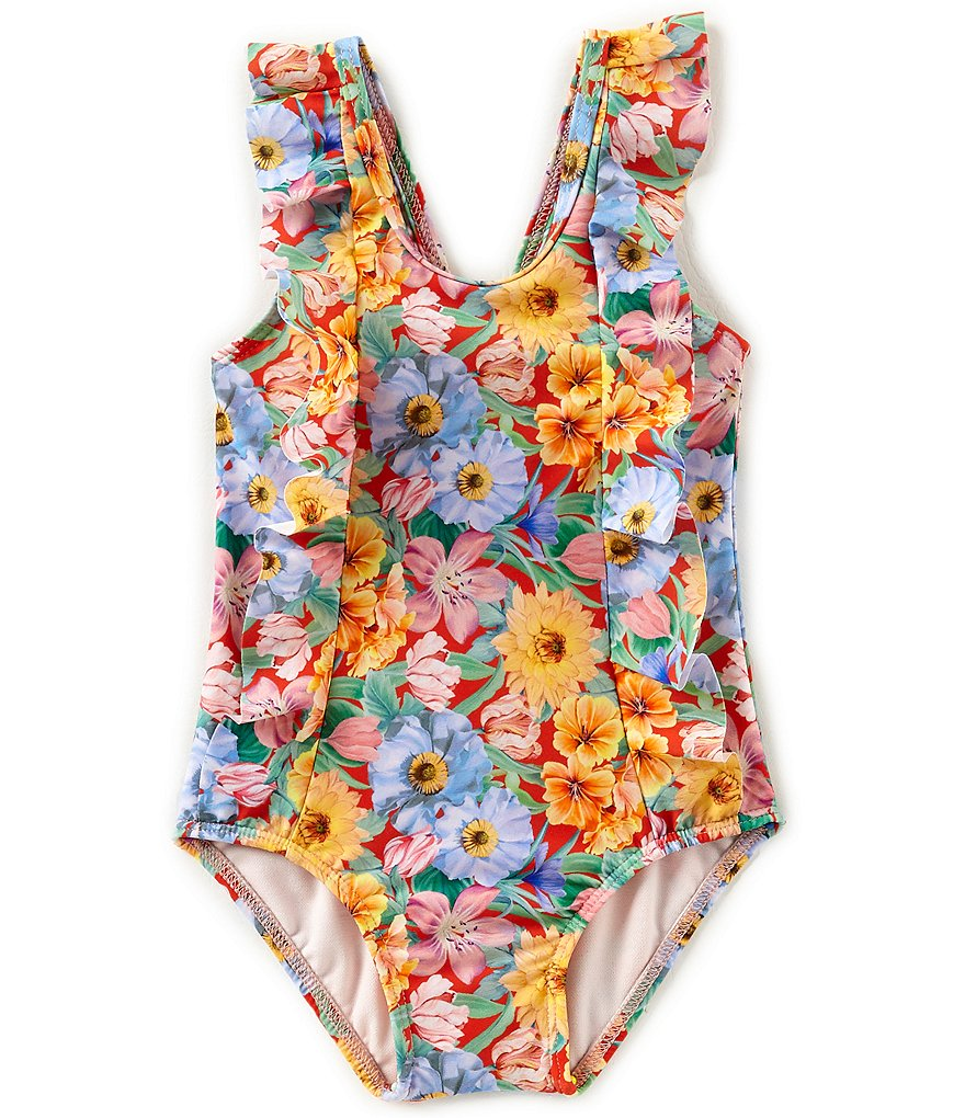 Edgehill Baby Girls 12-24 Months Floral Ruffle One-Piece Swimsuit Made with Liberty Fabrics
