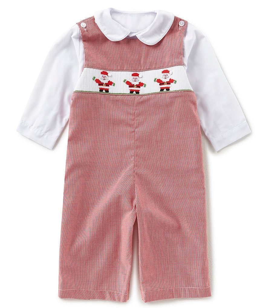 Edgehill Collection Baby Boys 3-24 Months Christmas Santa Overall & Button-Front Shirt Set