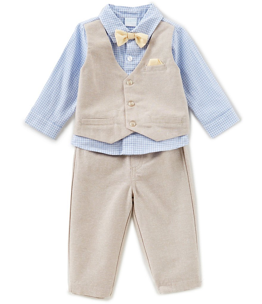 Edgehill Collection Baby Boys Newborn-6 Months Gingham Woven Shirt, Bow Tie, Mock Vest, & Pants Set