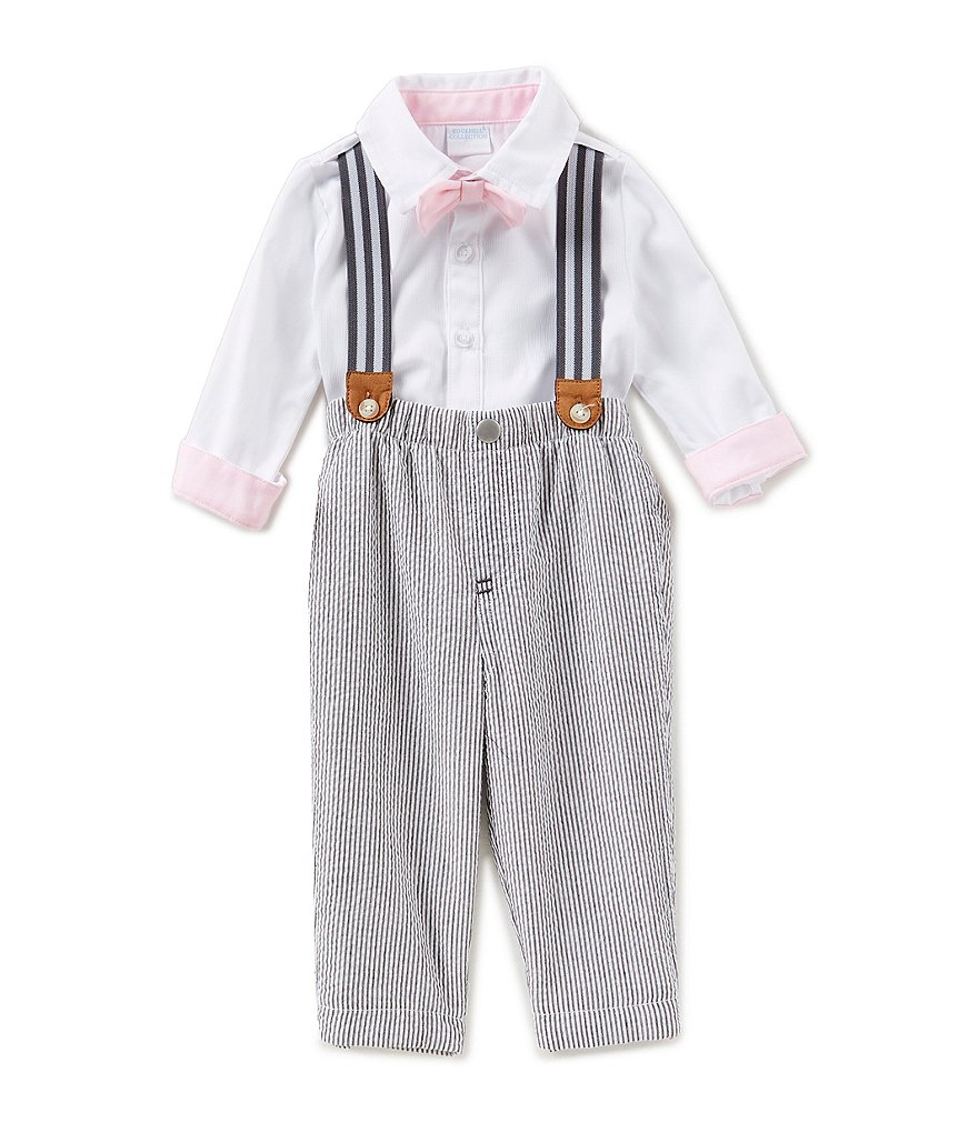 Edgehill Collection Baby Boys Newborn-6 Months Textured Woven Shirt, Bow-Tie, Suspenders, Pants Set