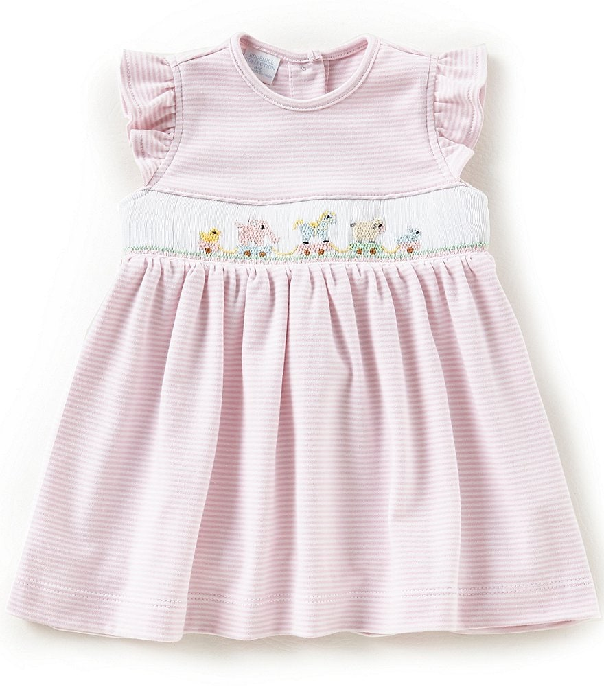 Edgehill Collection Baby Girl 3-9 Month Animals Pink Stripe Dress