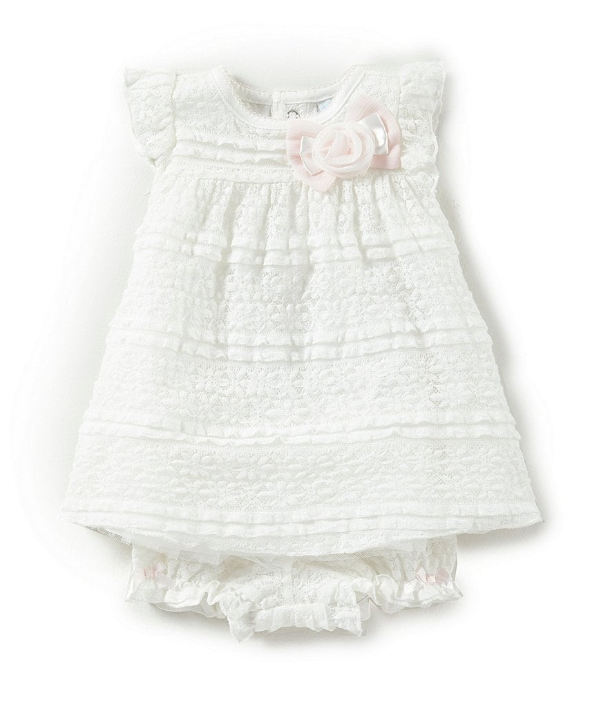 Edgehill Collection Baby Girls Newborn- 6 Month Rose and Bow Dress