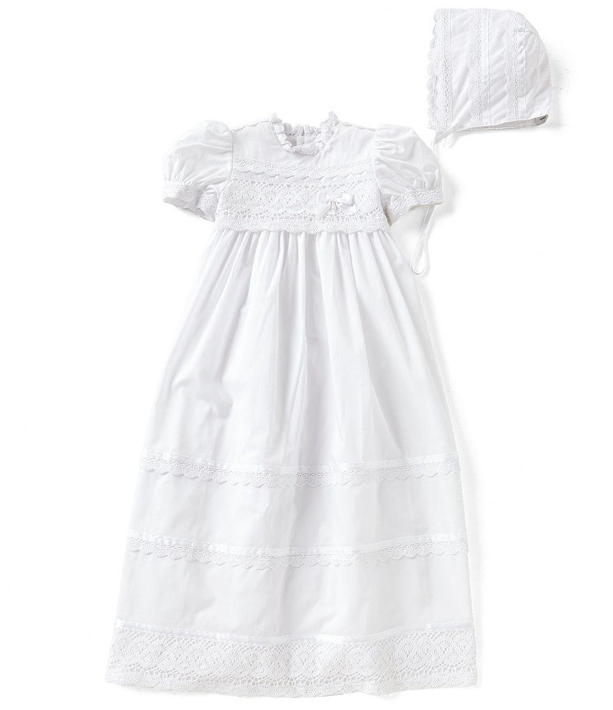 Edgehill Collection Baby Girls Newborn-12 Months Victorian Christening Gown & Matching Bonnet Set