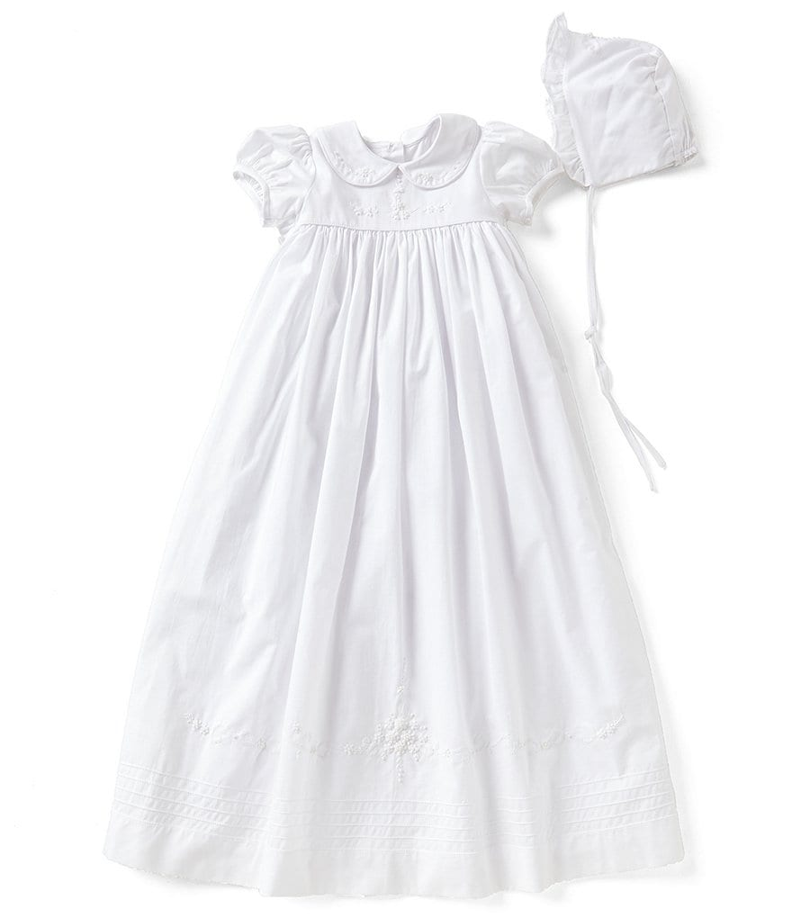 Edgehill Collection Baby Girls Newborn-12 Months Peter Pan Collar Christening Gown & Matching Bonnet