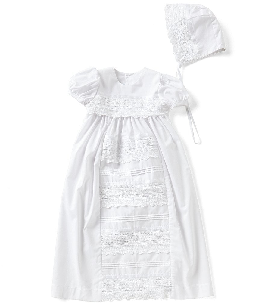 Edgehill Collection Baby Girls Newborn-12 Months Lace Christening Gown & Matching Bonnet Set
