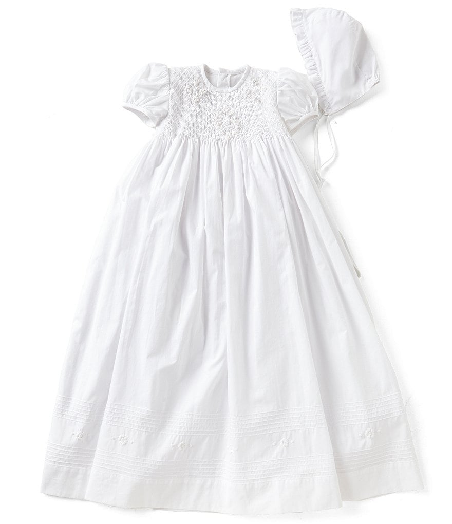 Edgehill Collection Baby Girls Newborn-12 Months Smocked Christening Gown & Matching Bonnet Set