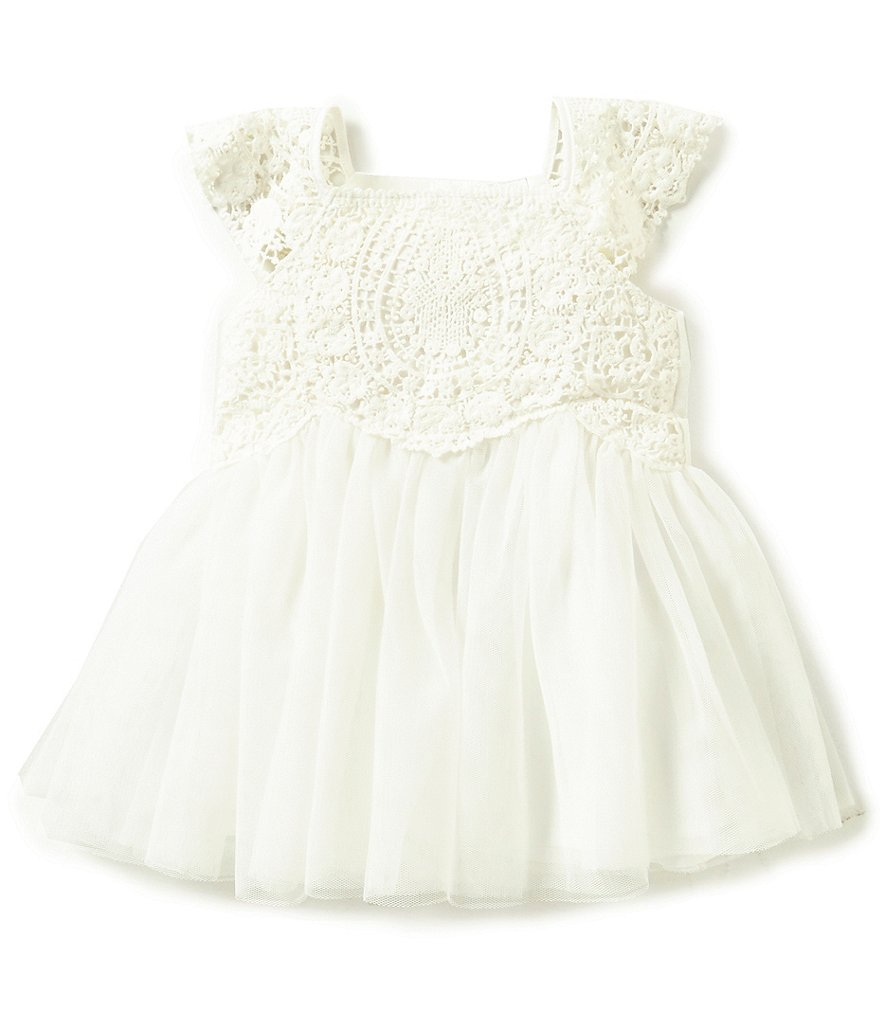 Edgehill Collection Baby Girls Newborn-24 Months Crochet Detailed Bow Dress