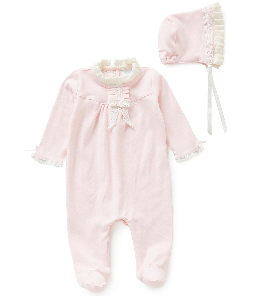 Edgehill Collection Baby Girls Newborn-6 Months Ruffled Coverall & Bonnet Set