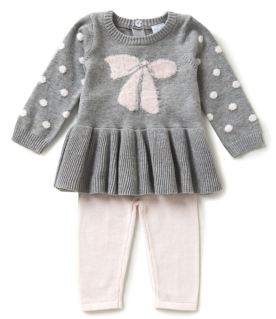 Edgehill Collection Baby Girls Newborn-6 Months Sweater Knit Top & Pants Set