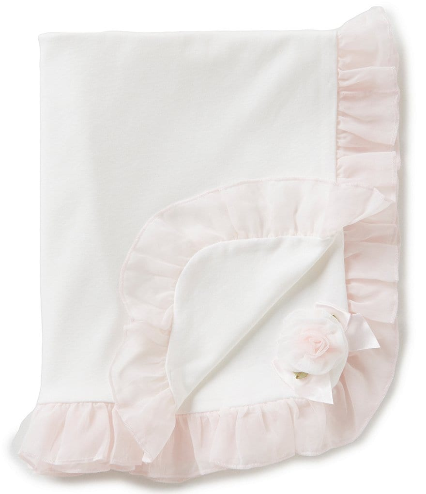 Edgehill Collection Baby Girls Ruffle Rosette Receiving Blanket