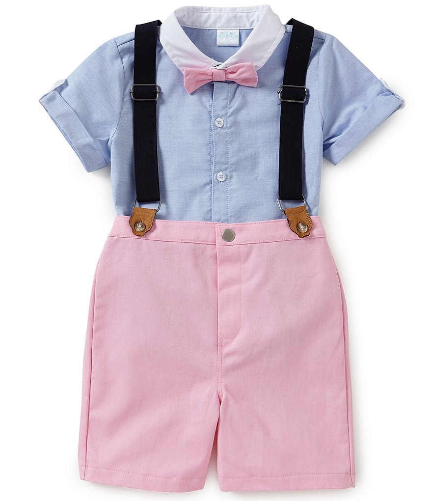 Edgehill Collection Little Boys 2T-4T Oxford Shirt, Suspenders & Shorts Set