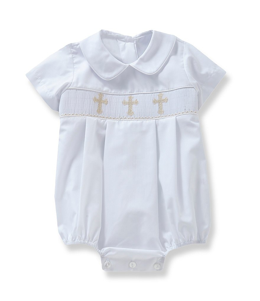 Edgehill Collection Baby Boys 3-9 Months Cross Smocked Christening Shortall