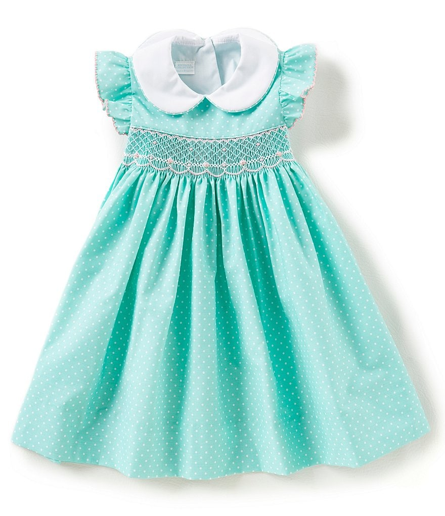 Edgehill Collection Little Girls 2T-4T Dotted Flutter-Sleeve Dress