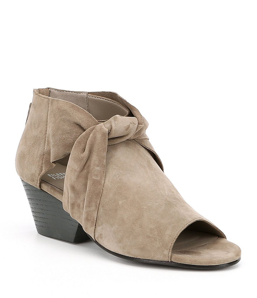 Eileen Fisher Anise Suede Peep-Toe Block Heel Shooties