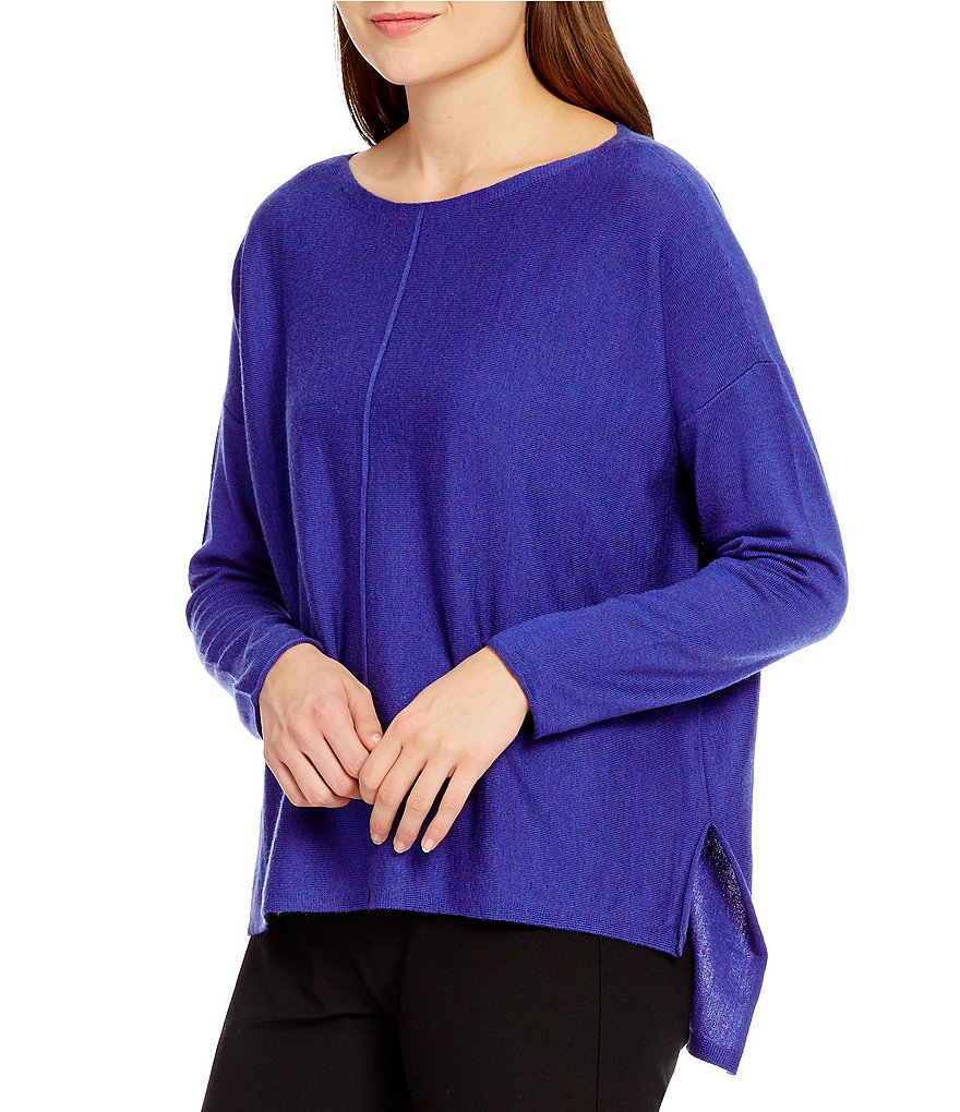 Eileen Fisher Bateau Neck Hi-Low Solid Box-Top
